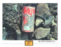 Flight Data Recorder as recovered at the Flight 93 crash site on September 13, 2001.